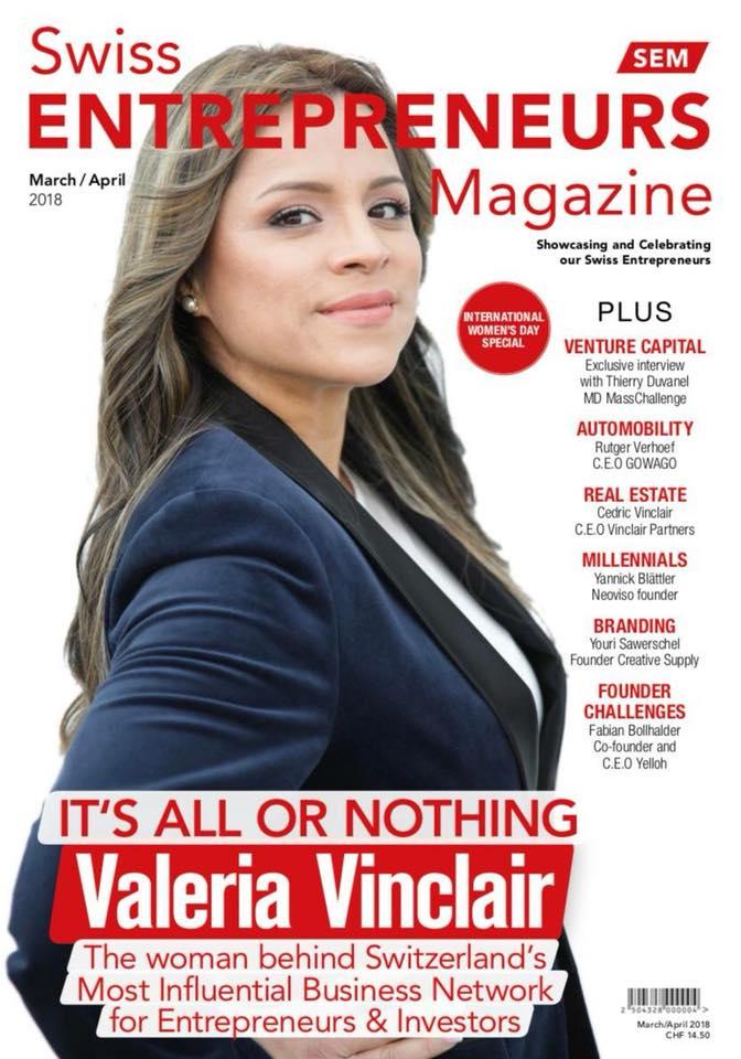 Valeria Vinclair auf der Titelseite des Swiss Entrepreneur Magazins.